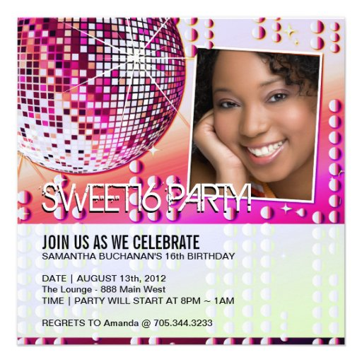 Glamourous Sweet Sixteen Disco Ball Invitation