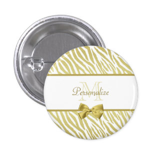 Glamourous White and Gold Zebra Print With Name 3 Cm Round Badge