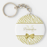 Glamourous White and Gold Zebra Print With Name Basic Round Button Key Ring