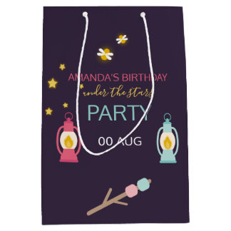 Glamping Birthday Party custom Guest Favour Medium Gift Bag
