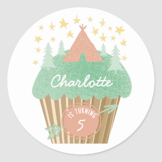 Glamping Cupcake Personalized Sticker