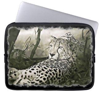 Glaring Cheetah  Digital Art Sleeve Case