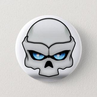 Glaring skull 6 cm round badge