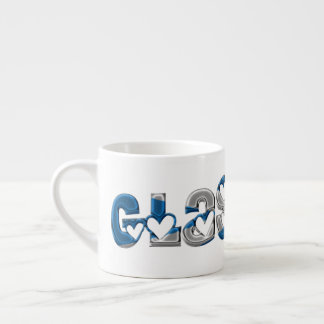 Glasgow Scotland Scottish Flag Colors Typography Espresso Cup