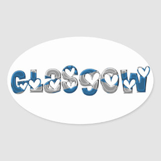 Glasgow Scotland Scottish Flag Colors Typography Oval Sticker