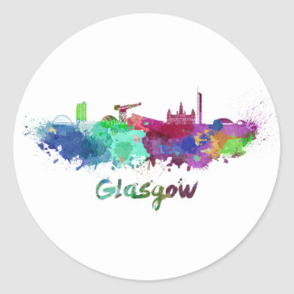 Glasgow skyline in watercolor classic round sticker