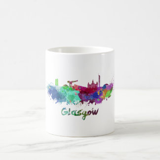 Glasgow skyline in watercolor coffee mug