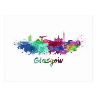 Glasgow skyline in watercolor postcard