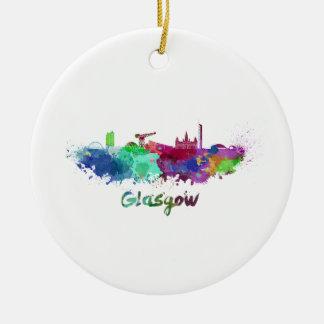 Glasgow skyline in watercolor round ceramic decoration