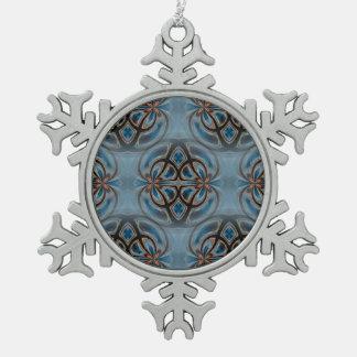 Glasgow Sunset Mandala Tiled Pattern 2 Snowflake Pewter Christmas Ornament