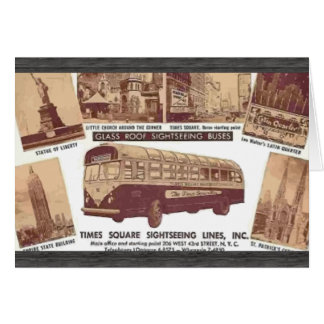 Glasroof Sightseeing Buses Time Squre , Vintage Greeting Card