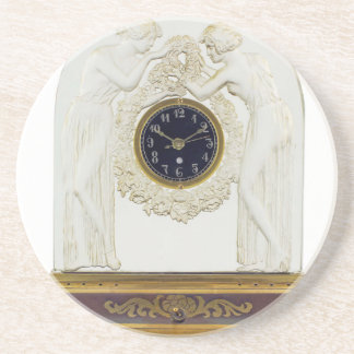 Glass Art Deco clock. Coaster