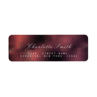 Glass Burgundy Maroon Noir Return Address Labels