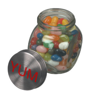 GLASS CANDY JAR filled with jelly belly beans