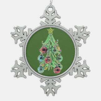 Glass Christmas Tree Snowflake Pewter Christmas Ornament