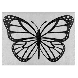 Glass Copping Board - Black & White Butterfly