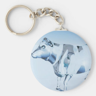 Glass Cow Basic Round Button Key Ring