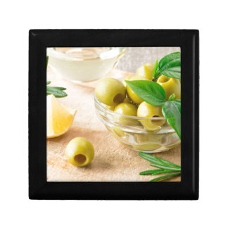 Glass cup with green pitted olives gift box