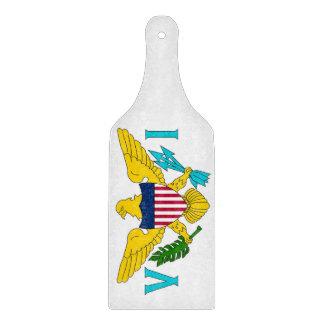 Glass cutting board paddle Virgin Islands flag