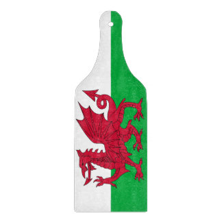 Glass cutting board paddle - Wales flag