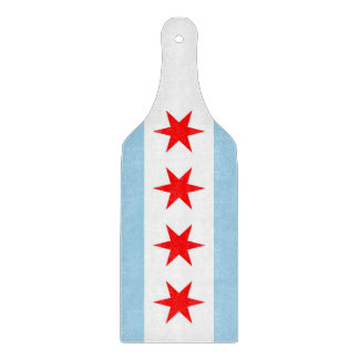 Glass cutting board paddle with Chicago flag