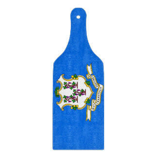 Glass cutting board paddle with Connecticut flag