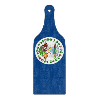 Glass cutting board paddle with flag of Belize
