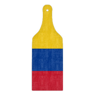 Glass cutting board paddle with flag of Colombia