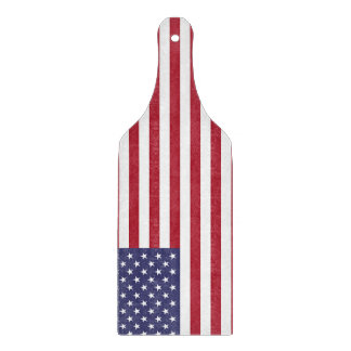 Glass cutting board paddle with flag of USA