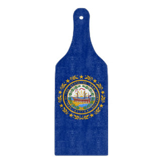 Glass cutting board paddle with New Hampshire flag