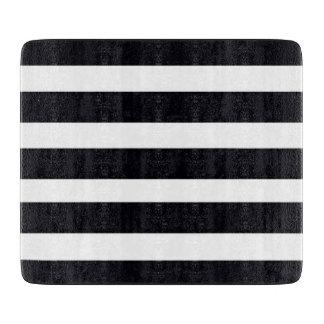 GLASS Cutting Board with Chic Black White Stripes