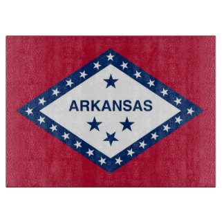 Glass cutting board with Flag of Arkansas State