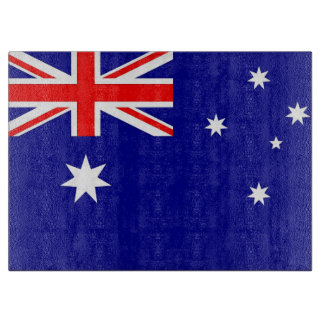 Glass cutting board with Flag of Australia