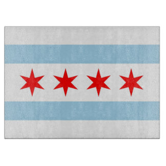 Glass cutting board with Flag of Chicago, USA