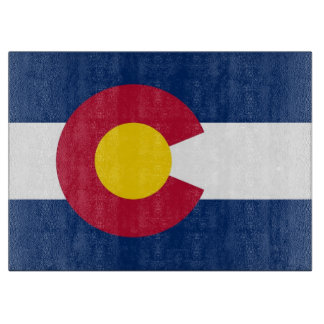 Glass cutting board with Flag of Colorado State