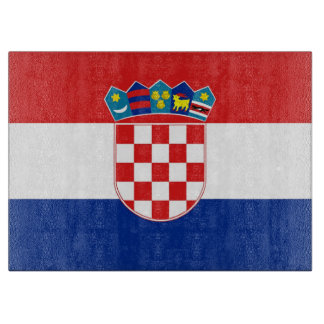 Glass cutting board with Flag of Croatia