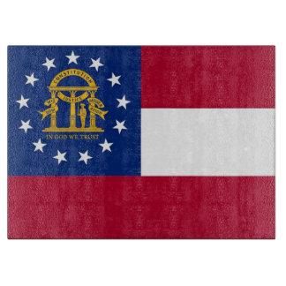 Glass cutting board with Flag of Georgia, USA