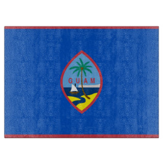 Glass cutting board with Flag of Guam, USA