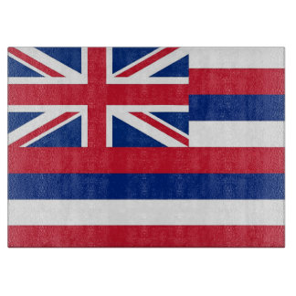 Glass cutting board with Flag of Hawaii State, USA