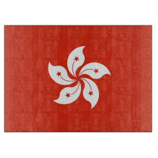 Glass cutting board with Flag of Hong Kong