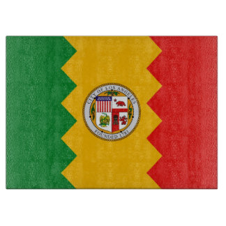 Glass cutting board with Flag of Los Angeles, USA