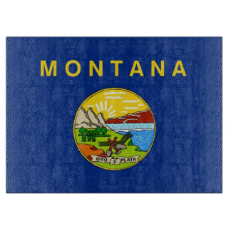 Glass cutting board with Flag of Montana USA