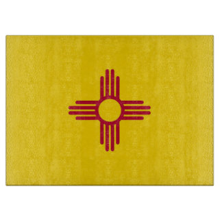Glass cutting board with Flag of New Mexico, USA