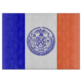Glass cutting board with Flag of New York City USA