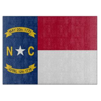 Glass cutting board with Flag of North Carolina