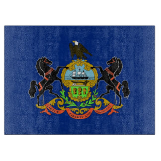 Glass cutting board with Flag of Pennsylvania, USA