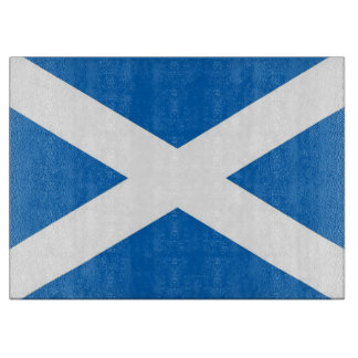 Glass cutting board with Flag of Scotland