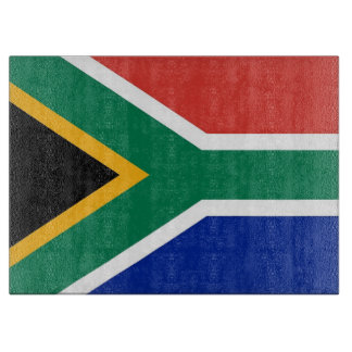 Glass cutting board with Flag of South Africa