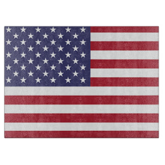 Glass cutting board with Flag of United States