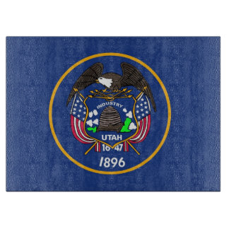 Glass cutting board with Flag of Utah, USA